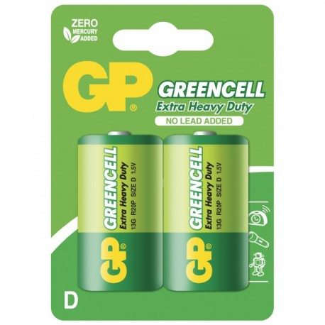 Blister 2 Batteria Greencell Zinco/Carbone Torcia D R20 IC-GP5561