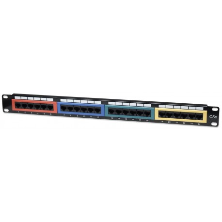 Pannello Patch UTP 24 porte Cat.5E Codifica Colorata I-PP 24-RU-COL