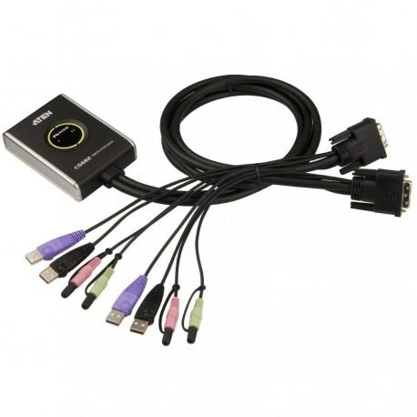 Mini Switch KVM USB Video DVI Audio e Microfono