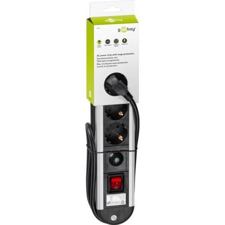 Multipresa in Alluminio 4 Posti Schuko con Interruttore e Led IUPS-PCP-AL4