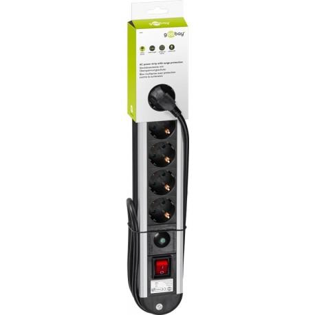 Multipresa in Alluminio 6 Posti Schuko con Interruttore e Led IUPS-PCP-AL6